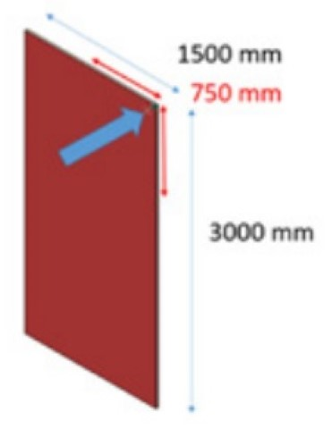 Figure 1: Illustration to measure force to deflect a plate while keeping three corners fastened.