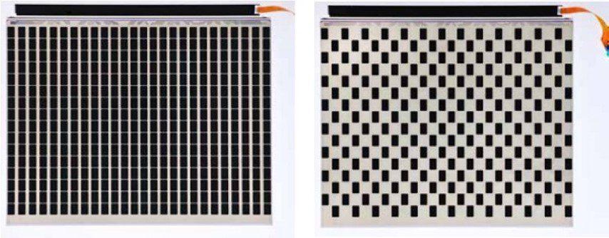 """Figure 3. TN-module type 1: all pixels in """"on"""" state (left), 50 % pixels in """"on"""" state and 50 % pixels in """"off"""" state (right)"""