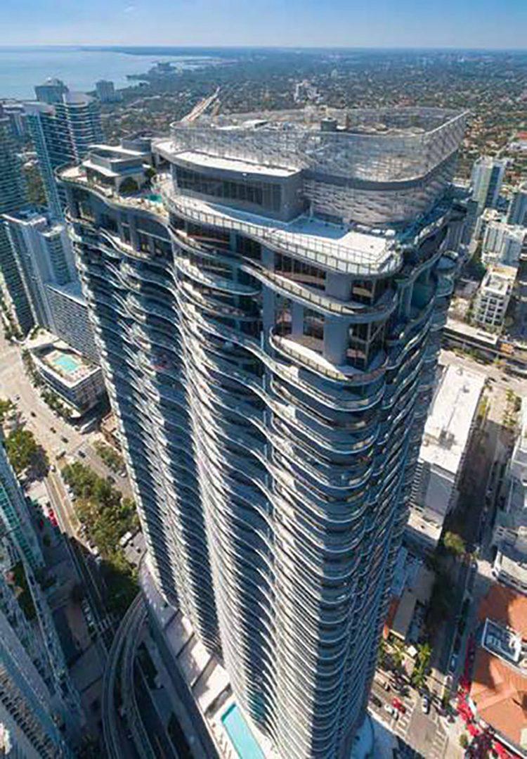 The 64 story Brickell Flatiron is now Miami's tallest condominium. Image © Golden Dusk Photography