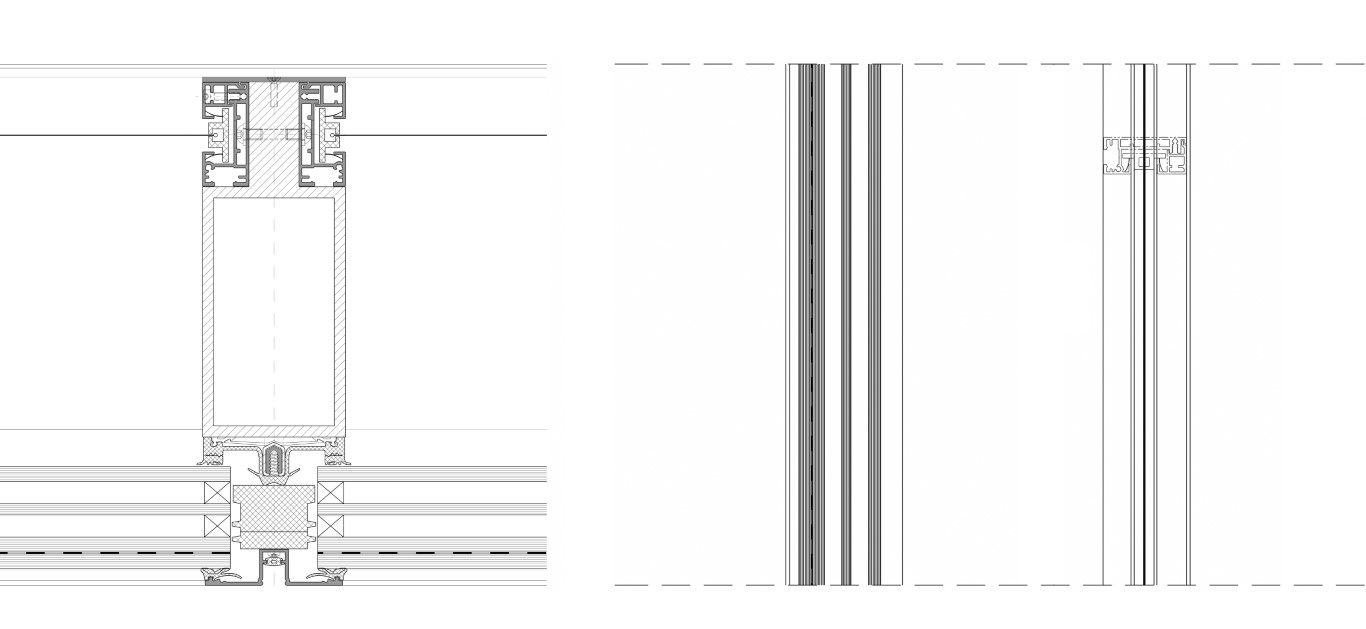 Figure 3: (right) Horizontal and (left) vertical section for ACT Facade with mullion-integrated ZIP guiding rail for textile sun-shading screen