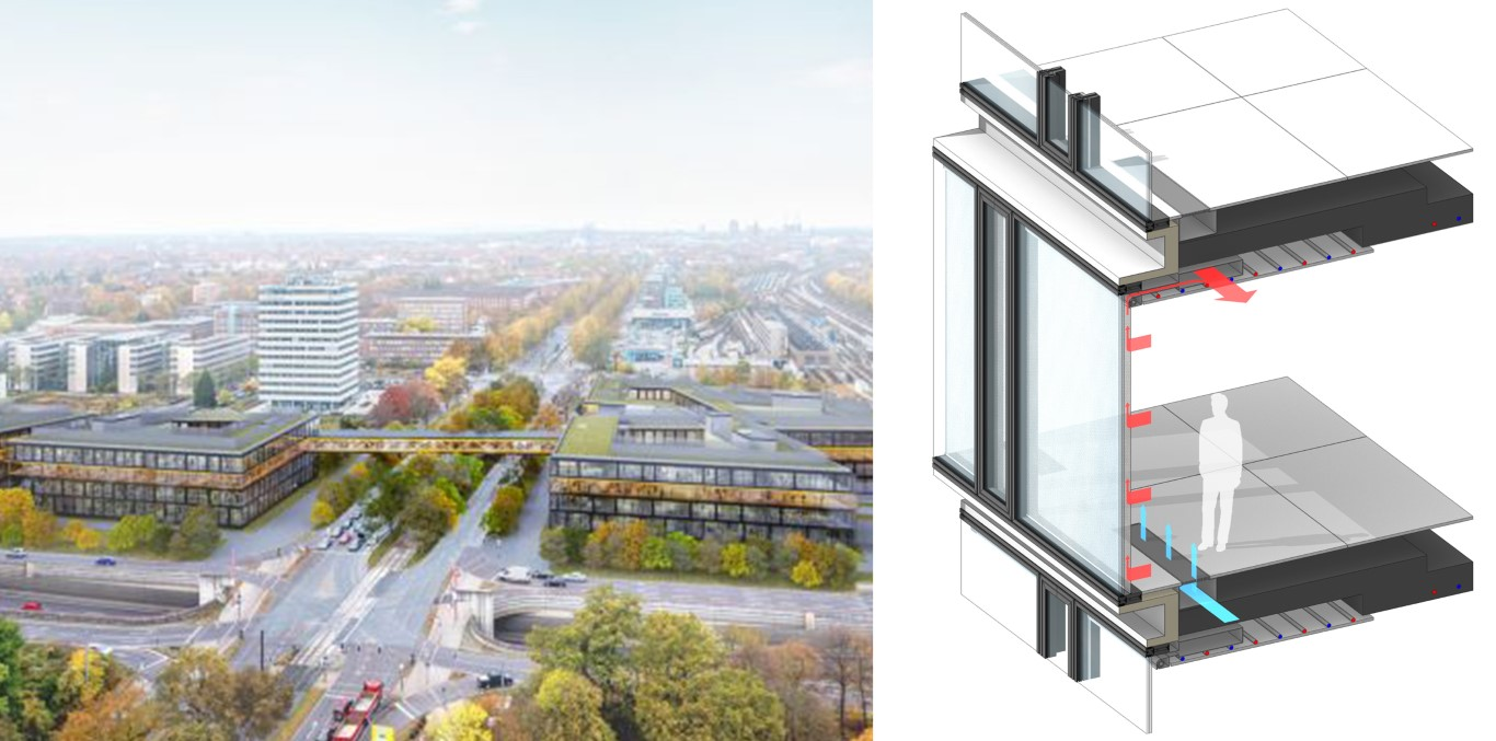 Figure 8: Continental Headquarter: (left) visualization (© HENN GmbH), (right) ACT Facade section