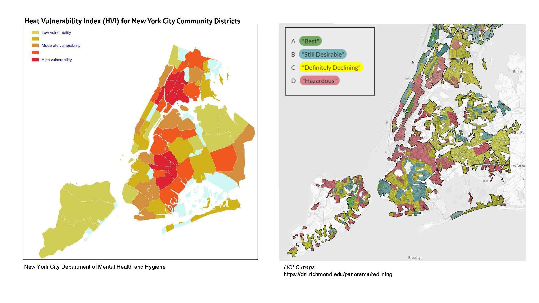 "From Left to Right: NYC Heat Vulnerability Index and Redlining Mapping, Courtesy of ""Cool Neighborhoods NYC"" Report, and Robert K. Nelson, LaDale Winling, Richard Marciano, Nathan Connolly, et al., ""Mapping Inequality,"" American Panorama, ed."