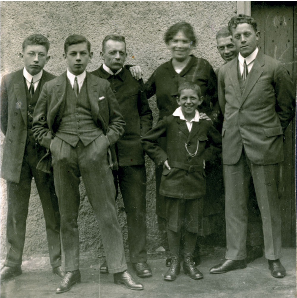 A family picture: from left to right: Josef III, Alfred, Josef II; Maria, Viktor (front), Hermann, Karl (Josef II being Fritz's grandfather and Josef III being his father)