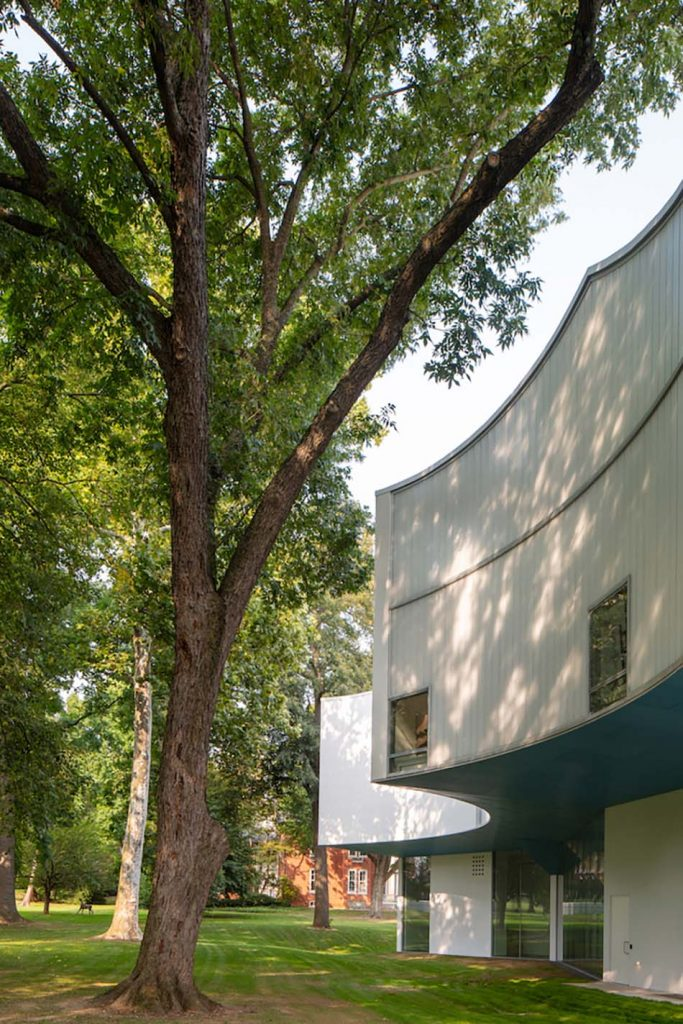 Old growth trees and drip lines create the Visual Arts Building's scalloped-massing. (Photography by Paul Warchol)