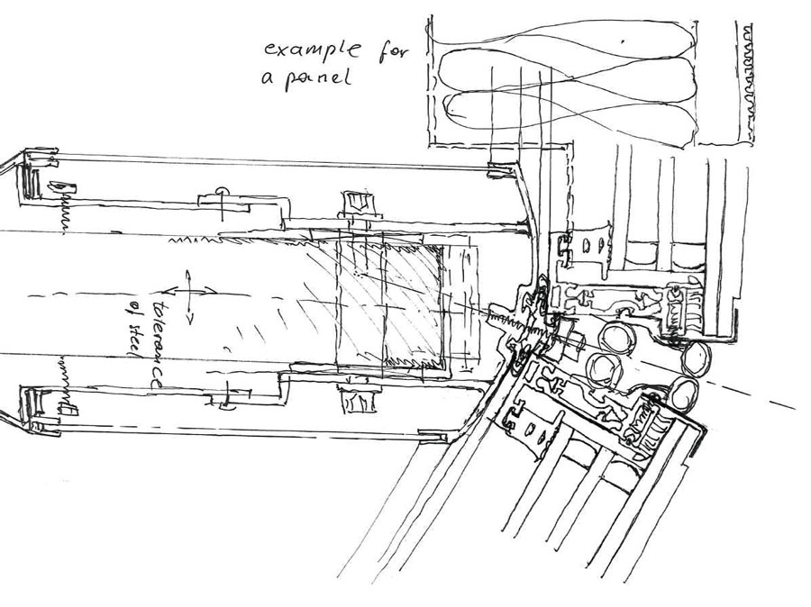 First sketch with a loadbearing steel core and slim aluminium profiles (concept sketch by Priedemann)