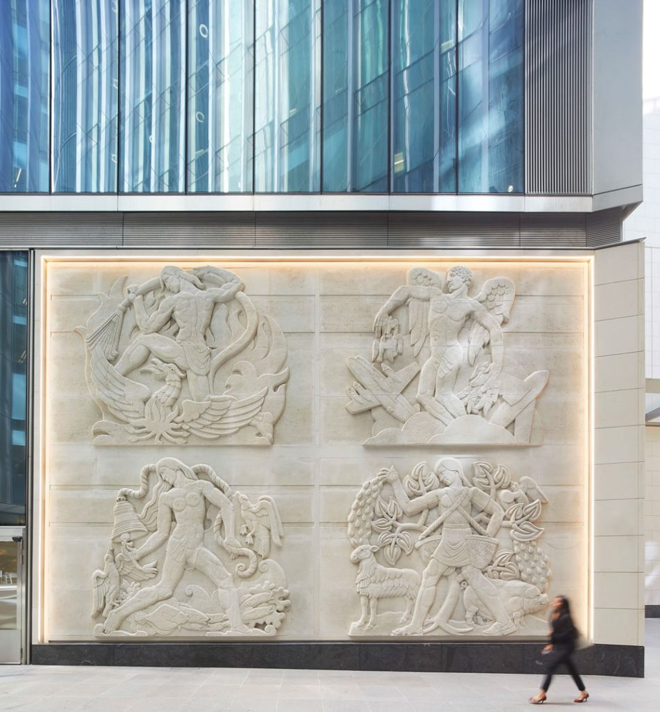 Four allegorical stone relief panels – the Woodford Stones – representing the classical elements of earth, air, fire and water have been incorporated in the façade of 52 Lime Street. © Hufton + Crow